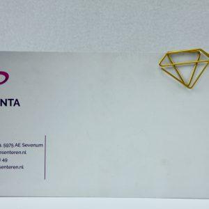 Grote goudkleurige paperclip Diamant (5 stuks)