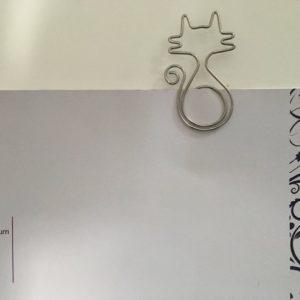 Grote metalen paperclip/boekenlegger Kat