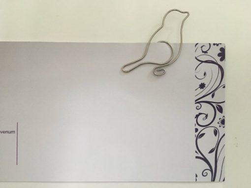 Grote metalen paperclip/boekenlegger Vogel