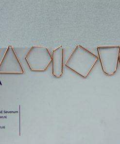 Grote rose goudkleurige paperclip gemengde vormen (6 stuks)