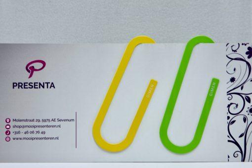 Mega metalen paperclips geel-groen