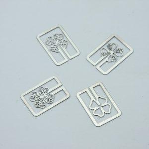 Metalen bookmark/paperclip Klavertje vier