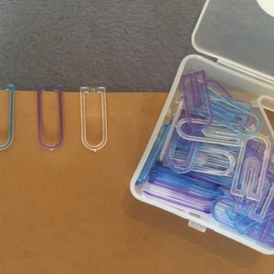 Transparante paperclips paars-blauw-wit (60 stuks)