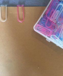 Transparante paperclips roze-blauw-wit (60 stuks)