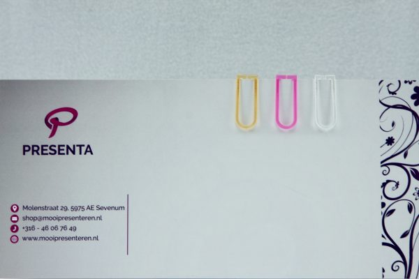 Transparante paperclips roze-oranje-wit (60 stuks)