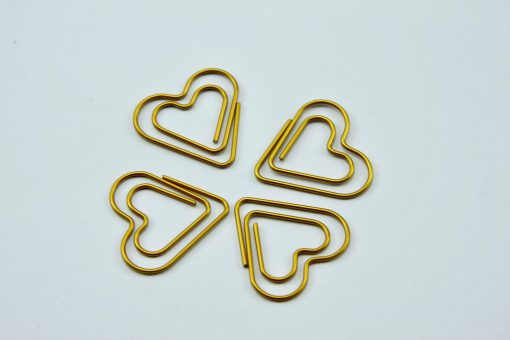 Grote goudkleurige paperclip Hart (5 stuks)