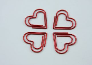 Rood metalen paperclip Hart 5 stuks