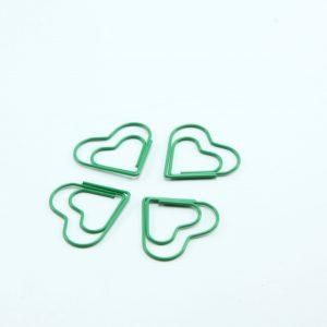 Groen metalen paperclip Hart 25 stuks