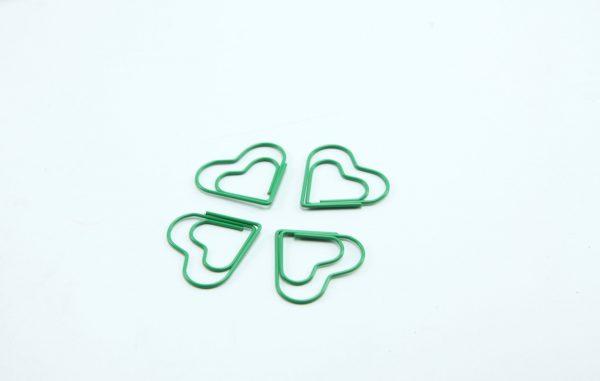 Groen metalen paperclip Hart 5 stuks
