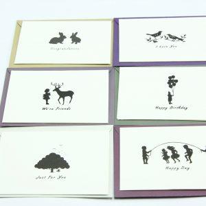 Wenskaartjes kleurrijk met envelop set van 6