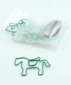 Groen metalen paperclip paard 5 stuks