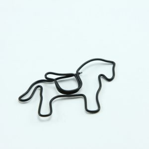 Zwart metalen paperclip paard 5 stuks