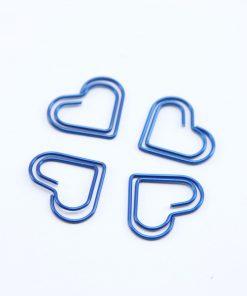 Blauw metalen paperclip hart klein 5 stuks
