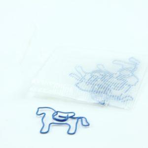 Blauw metalen paperclip paard 5 stuks