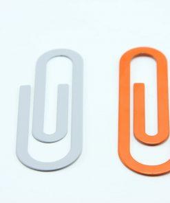 Mega metalen paperclips oranje-grijs