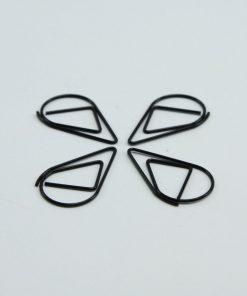 Waterdruppel paperclip in metallic zwart GROOT (25 stuks)