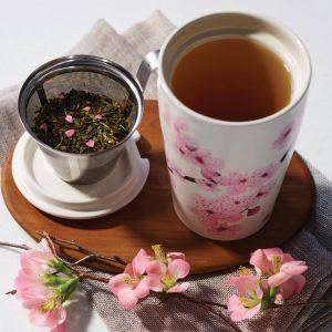 Hanami Kati thee mok plus theebus Hanami met losse thee van Tea Forté