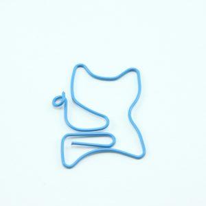 Blauwe metalen paperclip kat 5 stuks