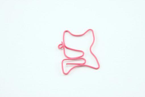 Roze metalen paperclip kat 5 stuks