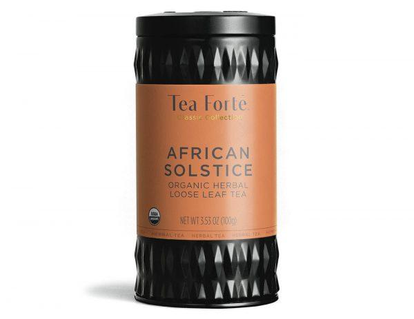 African Solstice (rooibos) Losse thee blaadjes in elegante theebus