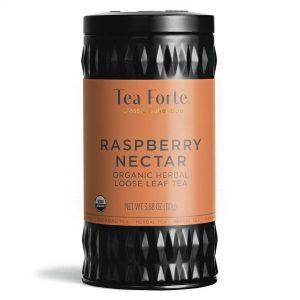 Raspberry Nectar (frambozen nectar)  Losse thee blaadjes in elegante theebus