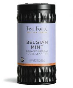 Belgian mint (Belgische munt)  Losse thee blaadjes in elegante theebus