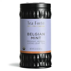 Roestvast stalen thee infuser plus losse thee in theebus Belgian mint van Tea Forté
