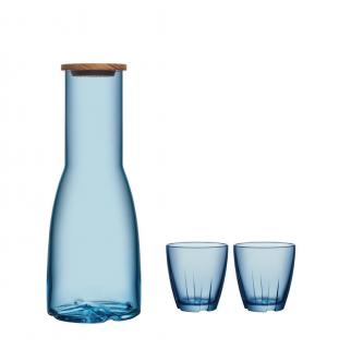 Kosta Boda Bruk karaf met 2 glazen blauw