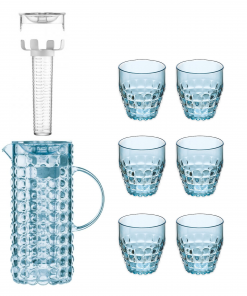Guzzini Tiffany karaf met infuseur en 6 glazen blauw