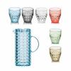 Guzzini Tiffany karaf blauw en 6 glazen multi colour