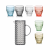 Guzzini Tiffany karaf met 6 multi colour glazen