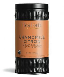 Chamomile citron (kamille citroen)  Losse thee blaadjes in elegante theebus
