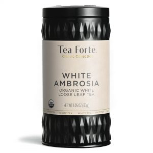 White ambrosia Losse thee blaadjes in elegante theebus (witte ambrosia)